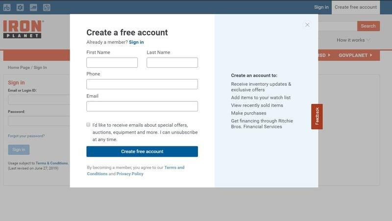 Create an IronPlanet free account
